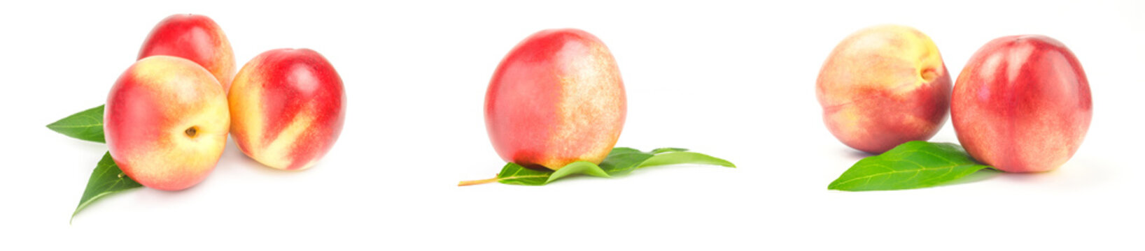 Set of fresh peaches fruits isolated on a white background cutout