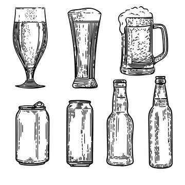 Vector hand drawn set of cans, bottles and glasses of beers in the engraving style on white background.