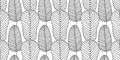 Beautiful vector seamless pattern made of monochrome feathers and leaves in white and gray colors. Repeating texture in boho style. Hippie design for surfaces, fabric, textile, paper wrappings.