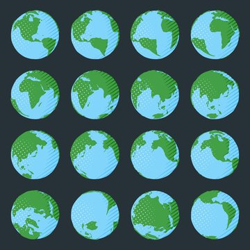 Big collection of planet Earth in comic book style