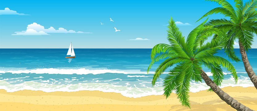 Exotic tropical  beach with  palm. Seascape with waves, cloudy sky and seagulls.  Sail on the horizon. Tourism and travelling. Vector design