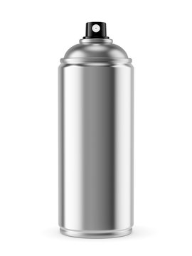 Blank spray paint metal can isolated on white