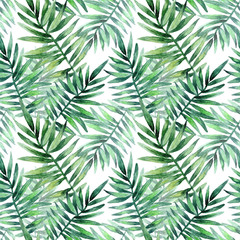 Watercolor seamless pattern with tropical leafs. Exotic fresh pattern isolated on white background