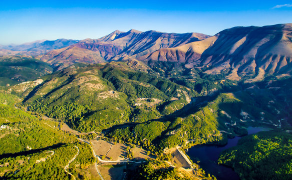 Mountains range in albania from drone flight