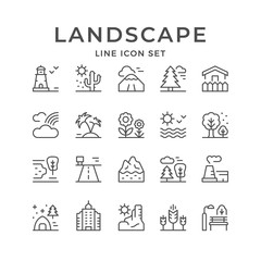 Set line outline icons of landscape