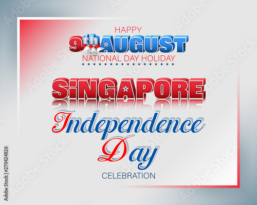 Holiday background with 3d texts and national flag colors for ninth