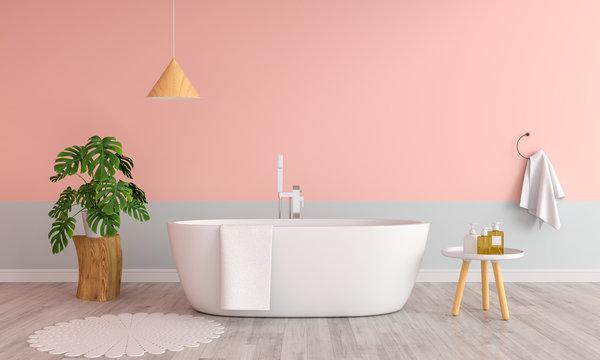 Pink bathroom interior bathtub, 3D rendering