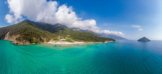 Wall Mural - Aerial view with amazing Paradise Beach on Thassos, Aegean Sea, Greece