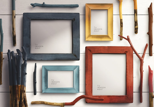 Maqueta de marco de fotos de madera