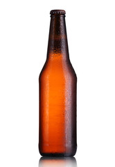 full bottle of beer with drops