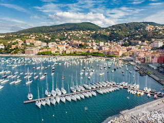 Canvas Prints Ship Aerial view of small yachts and fishing boats in Lerici town, a part of the Italian Riviera, Italy.