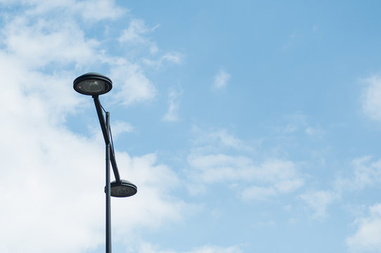 closeup of street light on blue sky background