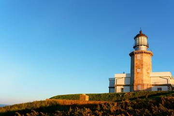 Matxitxako lighthouse in Bermeo with blue sky