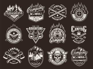 Vintage monochrome camping labels set