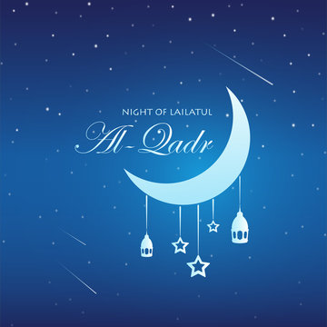 The Night of Lailatul Qadr for Ramadhan Kareem, Vector Illustration