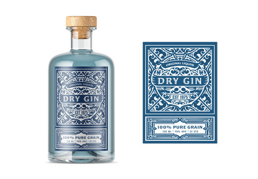 Traditional Gin Label Layout with White and Blue Accents