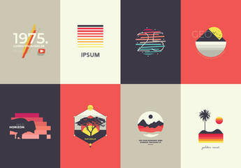 Multicolored Icon Set with Outdoor Imagery