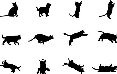set cat black white background isolated logo icon vector  sign silhouette