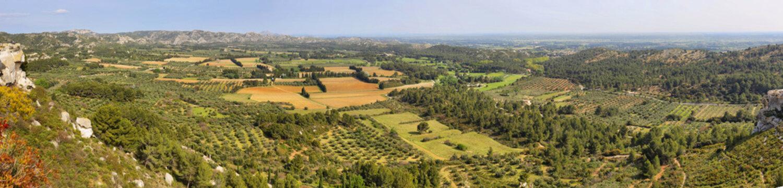 View of alpilles natural park from Les Baux de Provence, France