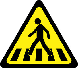 Warning sign with crosswalk