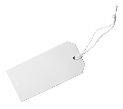 Cardboard tag with space for text on white background