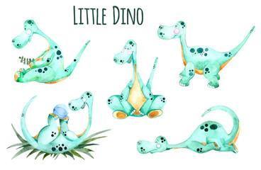 "Children's illustration ""Little dinosaur"". Watercolor illustration"
