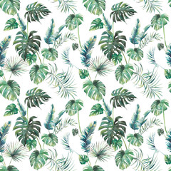 Watercolor tropical leaves surface design. Exotic monstera and palm green branches texture on white background. Summer plants seamless pattern