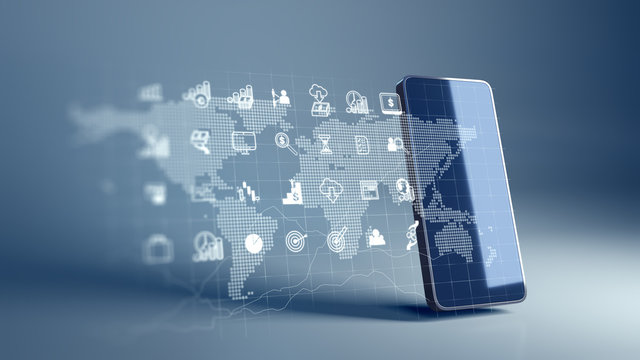fintech icon and technology element on mobile phone 3d rendering