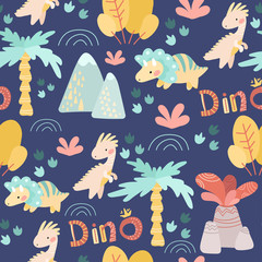 seamless pattern. drawing hands of cute dinosaurs, plants, flowers, nature. Prehistoric period. Vector illustration. For kids fabric, textile, wallpaper