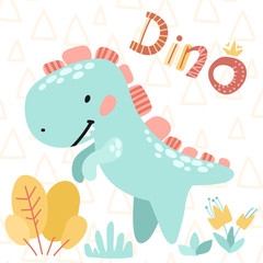 Children's card. Vector illustrations. Cute kids cartoon dinosaur. Prehistoric period.