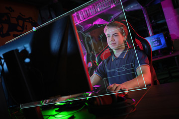 Cyber sport. Team play. Professional cybersport player training or playing online game on his PC