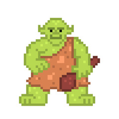 Obraz Green troll with a wooden bat, old school 8 bit pixel art character on white. Evil goblin.Ugly ogre.Legendary scandinavian folklore, european mythology creature. Retro slot machine/video game graphics - fototapety do salonu