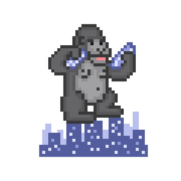 Giant ape destroying a city, old school 8 bit pixel art icon on white. Huge monster monkey ruining skyscrapers. Horror movie character, big gorilla. Retro 80s-90s slot machine/video game graphics