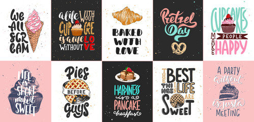 Set of bakery and sweet food lettering posters, greeting cards, decoration, prints. Hand drawn typography design elements. Handwritten lettering. Modern ink brush calligraphy.