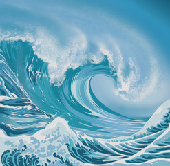 Canvas Prints Abstract wave Ocean wave illustration oil painting style