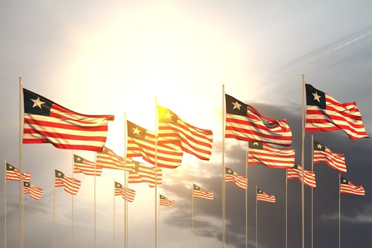 wonderful day of flag 3d illustration. - many Liberia flags in a row on sunset with free place for content