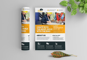 Construction Work Flyer Layout with Bold Stripes