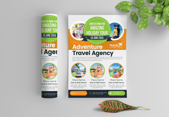 Multicolored Travel Flyer Layout with Circular Photo Elements