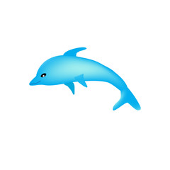 Photo sur Aluminium Dauphins Beautiful cartoon dolphin on a white background isolated.