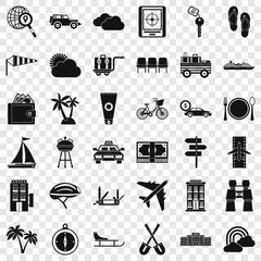 Transportation icons set. Simple style of 36 transportation vector icons for web for any design