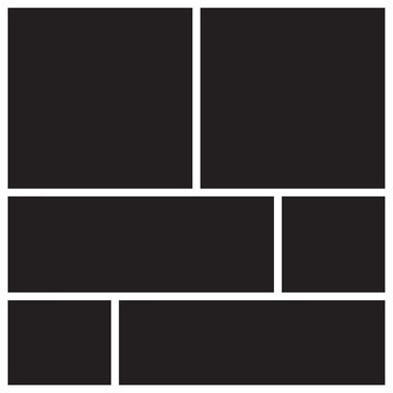 Vector mood board of six frames. Photo collage templates.