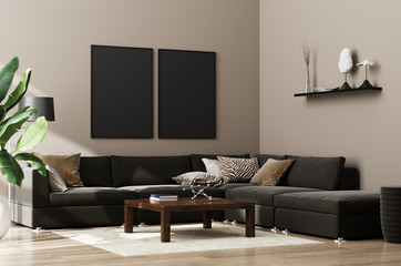 Mock up poster,wall in luxury modern living room interior, 3d render