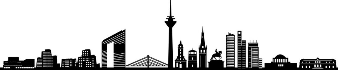 Fototapete - Düsseldorf City Skyline Silhouette