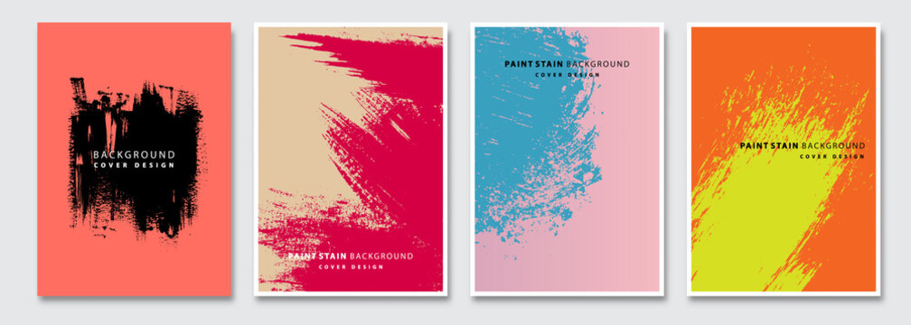 Book cover templates set, vector paint stain abstract background. Flyer, presentation, brochure, banner, poster design.