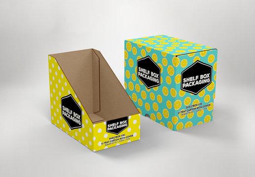 2 Tall Rectangular Shelf Boxes Mockup