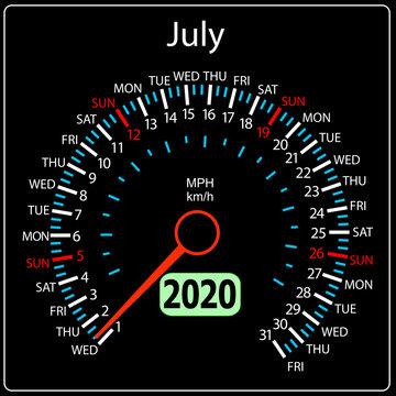 The 2020 year calendar speedometer a car July