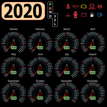 Calendar 2020 year from the car dashboard speedometer