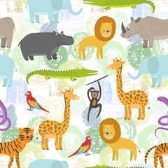 Printed kitchen splashbacks Illustrations Childish seamless pattern with cute cartoon jungle animals on grunge shapes background. Funny hand drawn texture with zebra, lion, giraffe for kids design, wallpaper, textile, wrapping paper