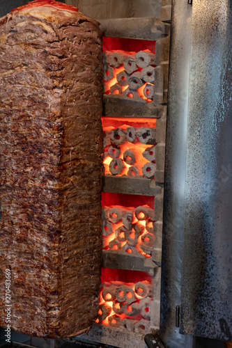 Traditional Turkish Doner Kebab  Grilled skewered lamb