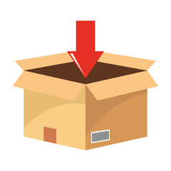 box with download arrow vector illustration